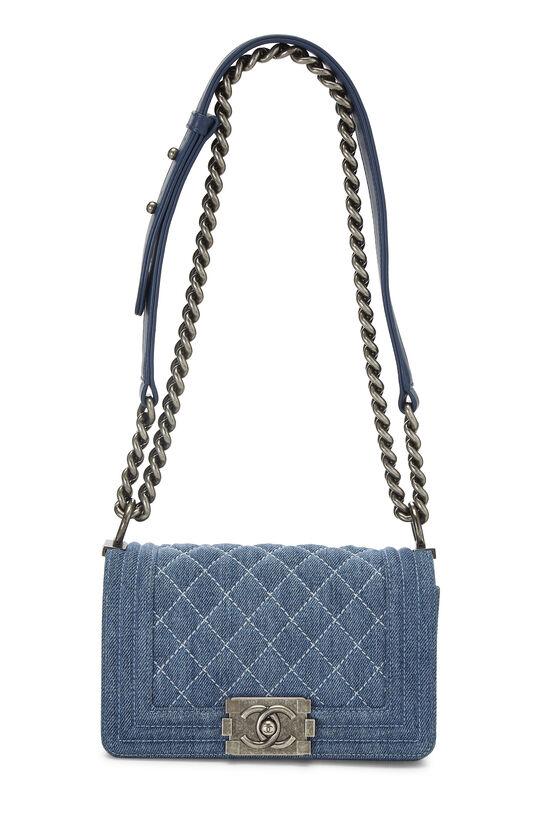 Blue Quilted Denim Boy Bag Small, , large image number 1