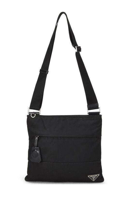 Black Nylon Shoulder Bag, , large image number 6