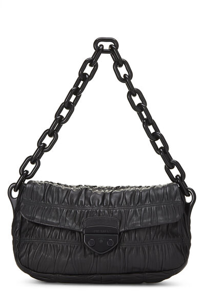 Black Nappa Gaufre Shoulder Bag