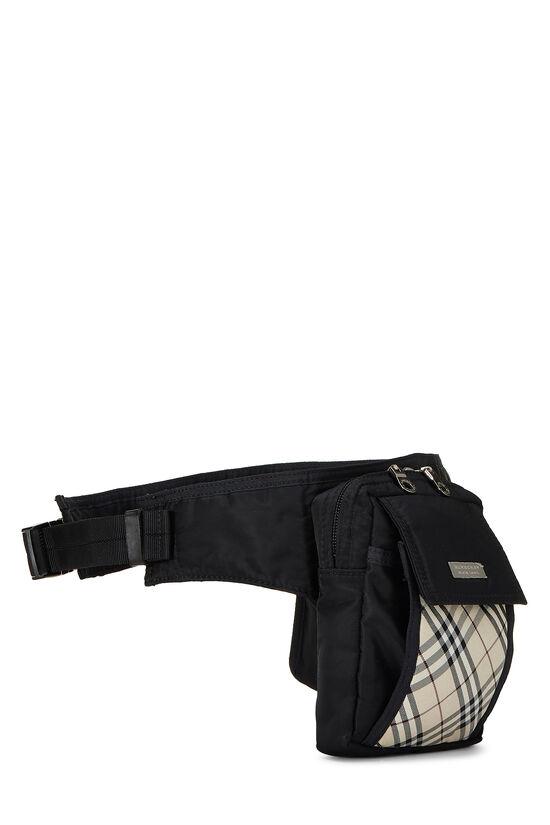 Black Nylon Check Belt Bag, , large image number 2