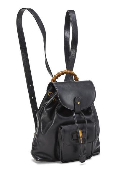 Black Leather Bamboo Backpack Mini, , large