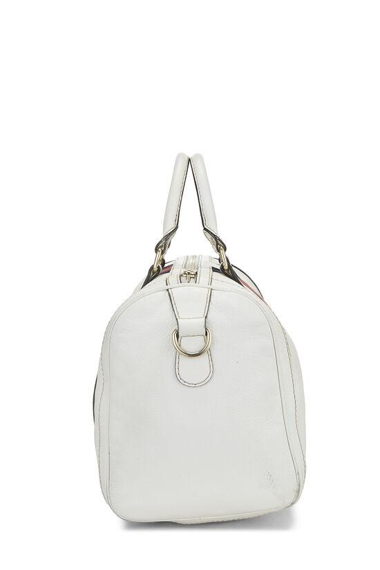 White Leather Web Boston Bag, , large image number 3