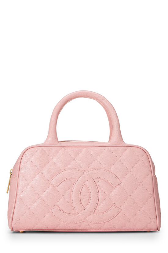 Pink Quilted Caviar Bowler Mini, , large image number 0