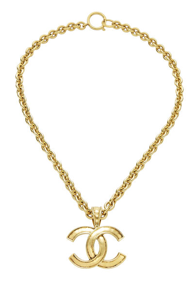 Gold Hammered 'CC' Necklace