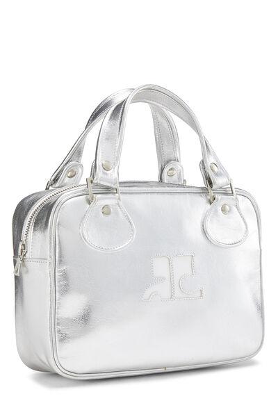 Metallic Silver Leather Logo Handbag Small, , large