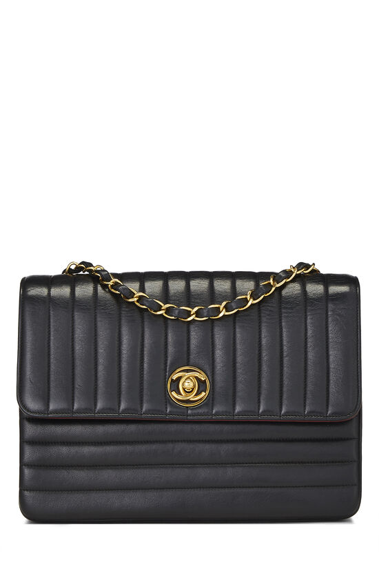 Black Quilted Lambskin Circle Lock Half Flap Small, , large image number 0