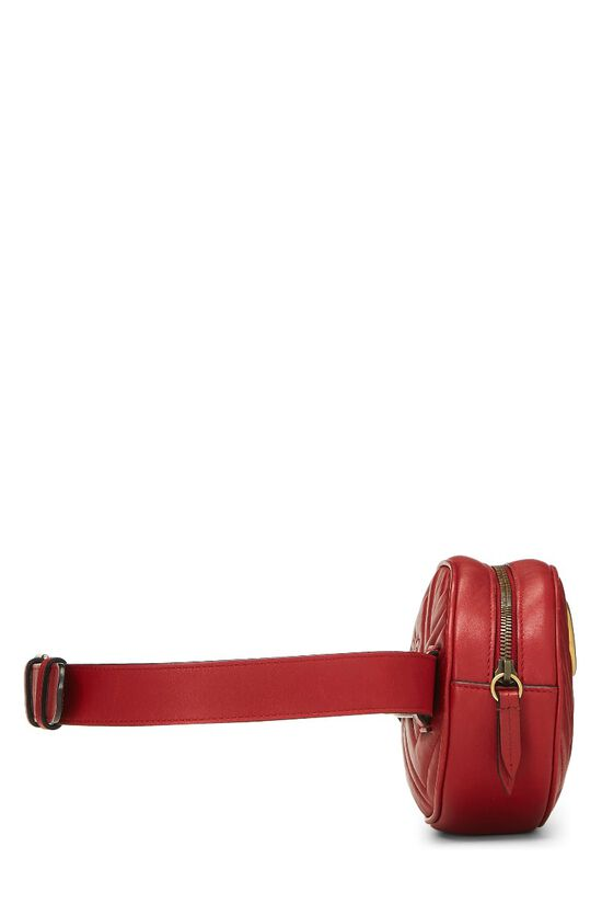 Red Leather Chevron GG Marmont Belt Bag, , large image number 2