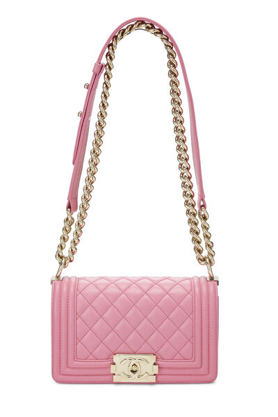 Pink Quilted Lambskin Boy Bag Small, , large