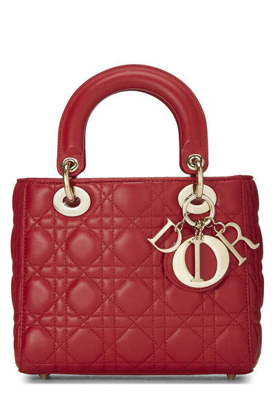 Red Cannage Quilted Lambskin Lady Dior Small