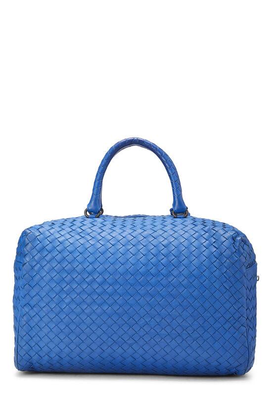 Blue Intrecciato Leather Boston, , large image number 4