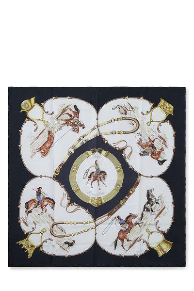 White & Multicolor 'Pampa' Silk Scarf 90