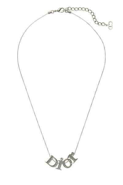 Silver & Blue Crystal Logo Necklace