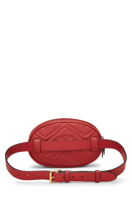 Red Leather Chevron GG Marmont Belt Bag, , large image number 3