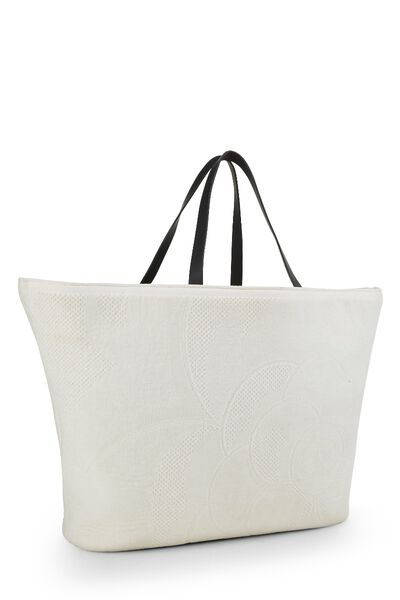 White Camellia Terry Cloth Tote XL, , large