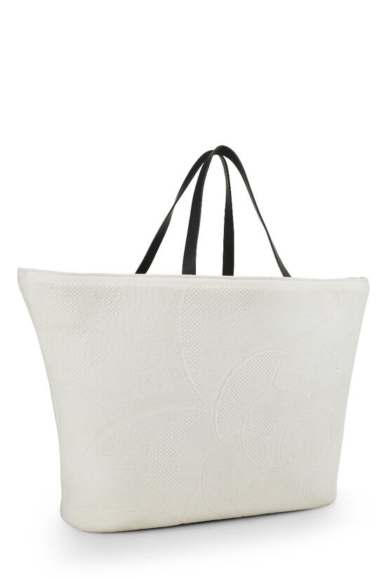 White Camellia Terry Cloth Tote XL, , large image number 1