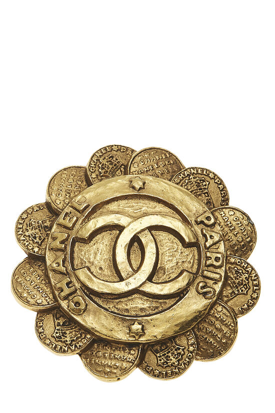 Gold 'CC' Coin Flower PIn, , large image number 0
