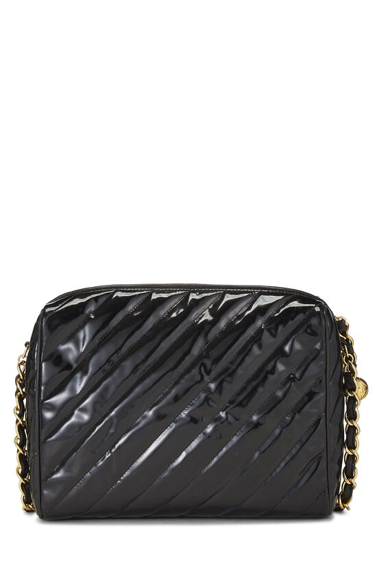 Black Patent Leather Diagonal Camera Bag Large, , large image number 4