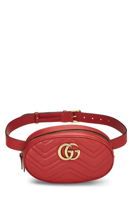 Red Leather Chevron GG Marmont Belt Bag, , large image number 0