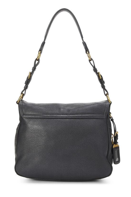 Black Vitello Daino Shoulder Bag, , large image number 3