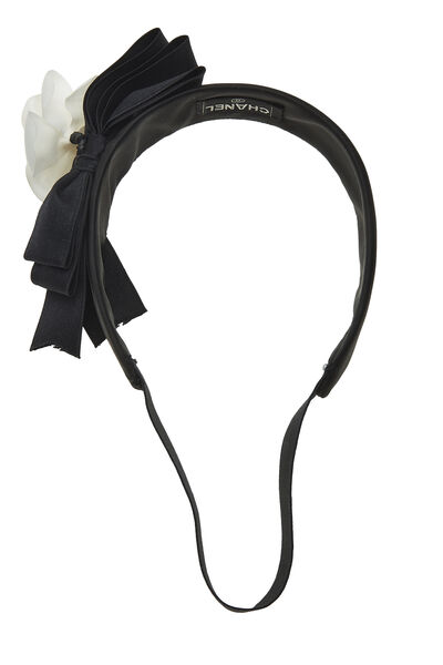 Black Satin Camellia Flower Headband, , large