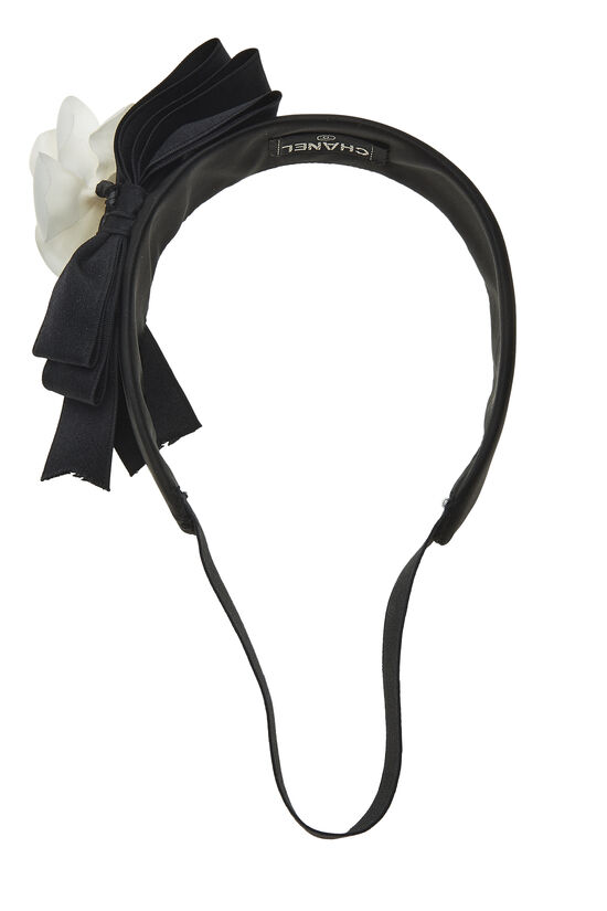 Black Satin Camellia Flower Headband, , large image number 1