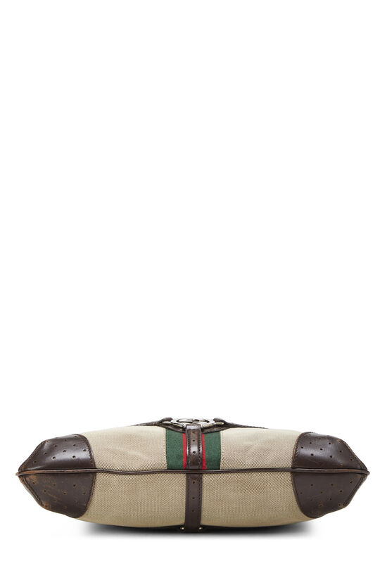 Beige Canvas Web Reins Shoulder Bag, , large image number 4