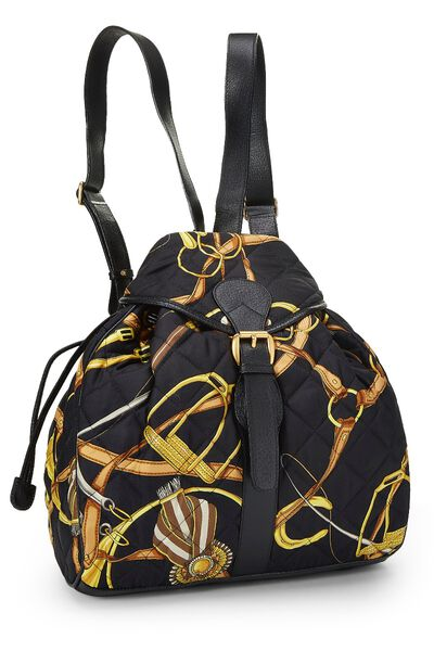 Black Quilted Silk Backpack, , large