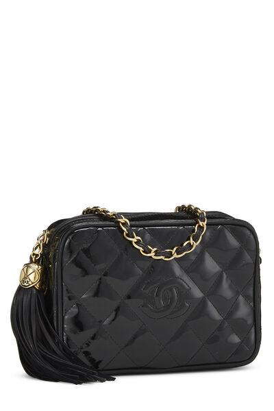 Black Patent Leather Diamond Camera Bag Mini, , large