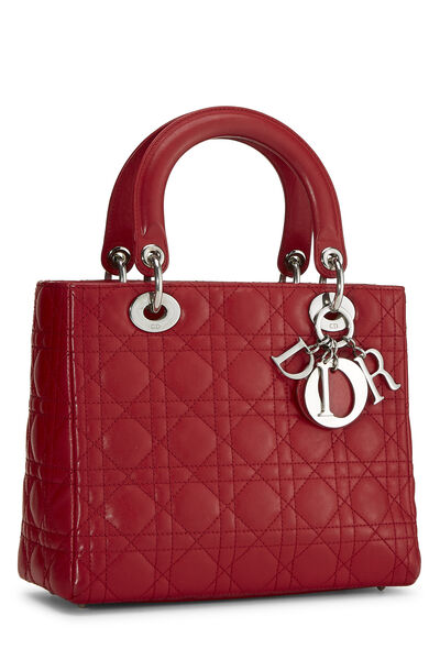 Red Cannage Quilted Lambskin Lady Dior Medium, , large