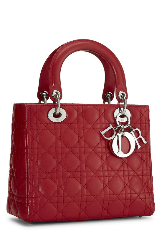 Red Cannage Quilted Lambskin Lady Dior Medium, , large image number 1