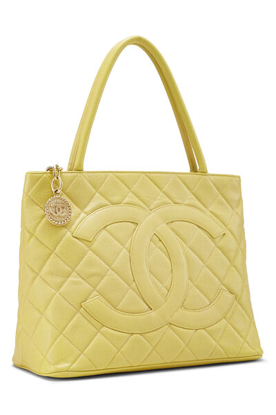 Yellow Quilted Caviar Medallion Tote, , large