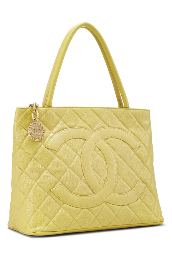 Yellow Quilted Caviar Medallion Tote, , large image number 1
