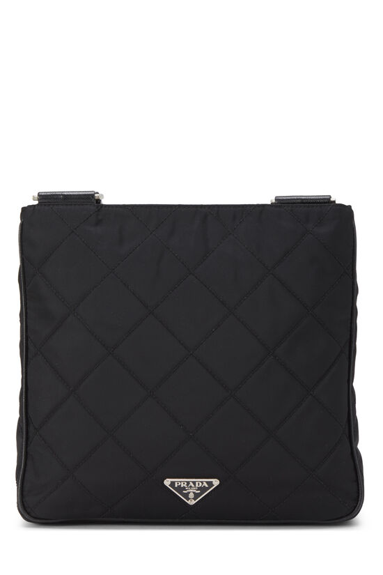 Black Quilted Nylon Flat Crossbody Small, , large image number 3