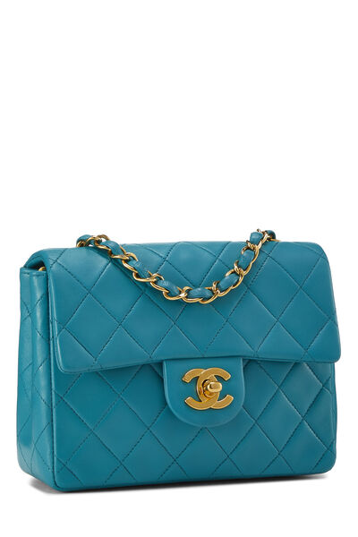 Teal Quilted Lambskin Half Flap Mini, , large