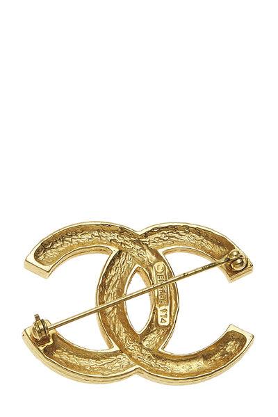 Gold Crystal 'CC' Pin, , large