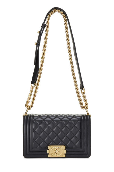 Black Quilted Lambskin Boy Bag Small, , large