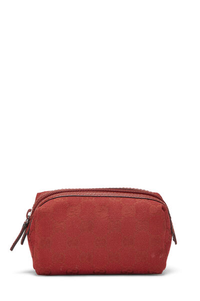 Red GG Canvas Cosmetic Pouch Small