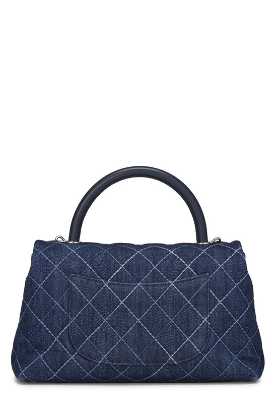 Blue Quilted Denim Coco Handle Bag Small, , large image number 4