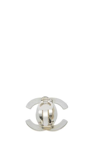 Silver & Crystal 'CC' Turnlock Earrings Large, , large