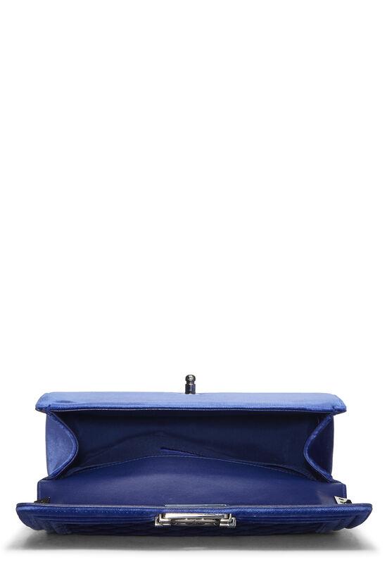 Blue Quilted Velvet Boy Bag Medium, , large image number 5