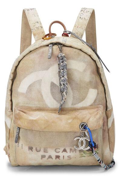 Beige Canvas Graffiti Backpack