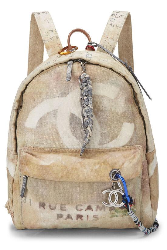 Beige Canvas Graffiti Backpack, , large image number 0