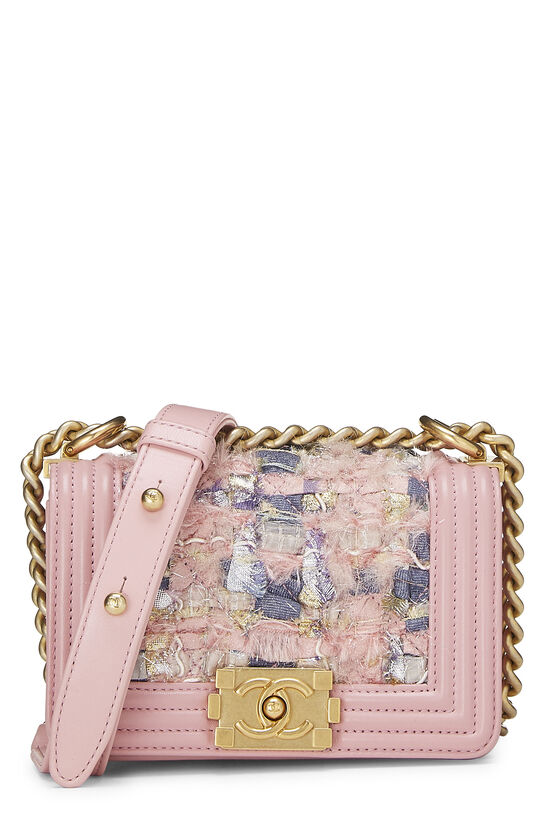 Pink Calfskin & Multicolor Tweed Boy Bag Mini, , large image number 0