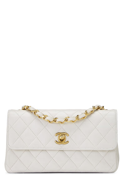 White Quilted Lambskin Half Flap Small