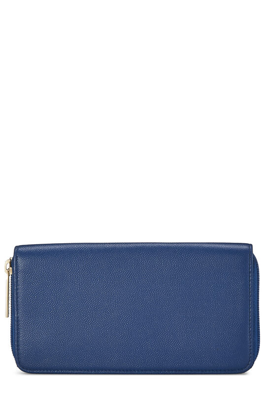 Blue Quilted Caviar Zip Wallet, , large image number 2