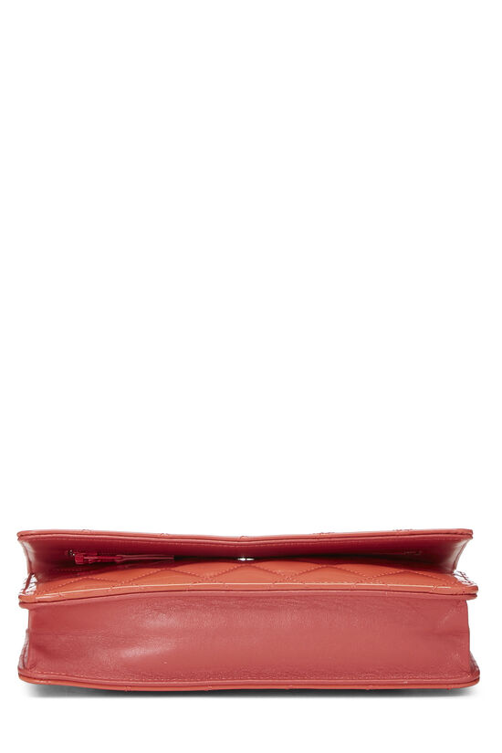 Coral Quilted Patent Leather Classic Wallet On Chain (WOC), , large image number 5