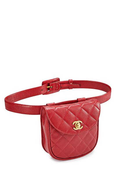 Red Quilted Caviar Belt Bag 30, , large