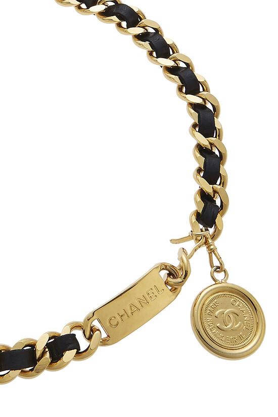 Gold & Black Leather Chain Belt, , large image number 1