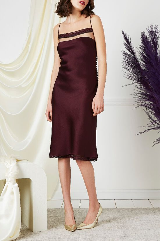 Purple Drop Chest Satin Dress, , large image number 0
