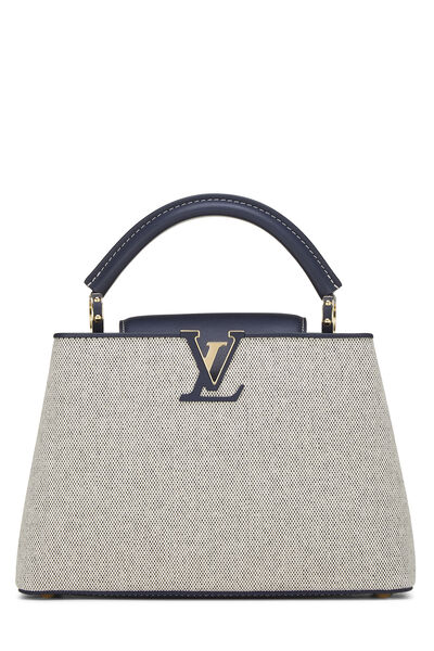Natural Canvas & Navy Leather Capucines BB